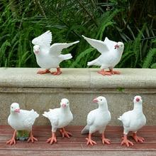 white resin doves Status Sculpture Craft Ornament Home Garden Room Desk Decoration Artificial pigeon simulation handicrafts
