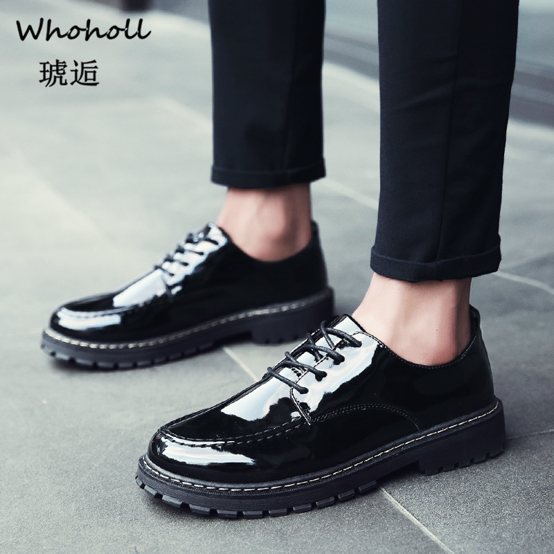 Bright Leather Men Shoes British Style Man Casual ShoesThick Bottom Non slip uniform Male Shoes Fashion party wedding Men Shoe in Men 39 s Casual Shoes from Shoes