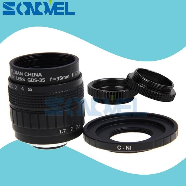 Fujian 35 Millimetri F1.7 Cctv Tv Movie Lens + C Mount + Macro Ring per Nikon 1 AW1 S2 J4 j3 J2 J1 V3 V2 V1 C NI C Nikon 1