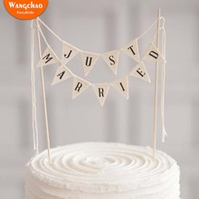 High Quality Just Married Banner Cake Topper Wedding Decoration Romantic Decora Party Supplies Decorating