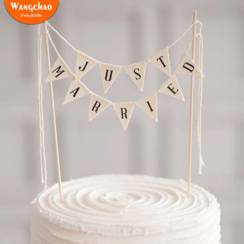 Hohe Qualitat Nur Verheiratet Banner Kuchen Topper Hochzeit
