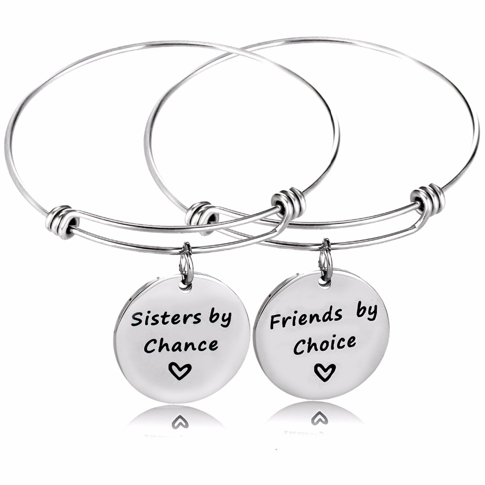 12Set/Lot Warm Family Gifts Stainless Steel Bangle Sister By Chance Friends By Choice Bracelet Heart Women Sis Love Jewelry New