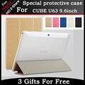 "Para Cube Ø63 caso 9.6 ""Tablet pc, Ultra-fino Padrão Silk PU de Couro Flip Caso Capa para Cubo Ø63 Freeshipping + gift"