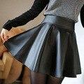 Luxury Brand Skirts Womens 2016 Female Autumn High Waist Leather Skirt Casual Slim Women Above Knee,Mini Skirts Female Fast Ship