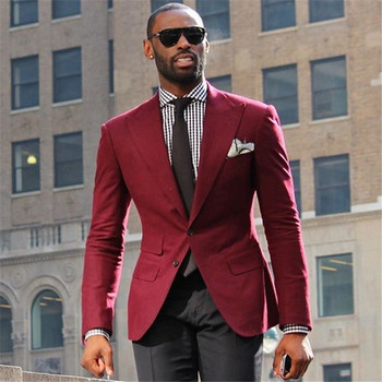 Costume Homme Mariage Wine Coat Men Suit2Pieces(Jacket+Pants+Tie) Ternos Masculinos Slim Fit Wedding Suits Grooms Tuxedos Blazer