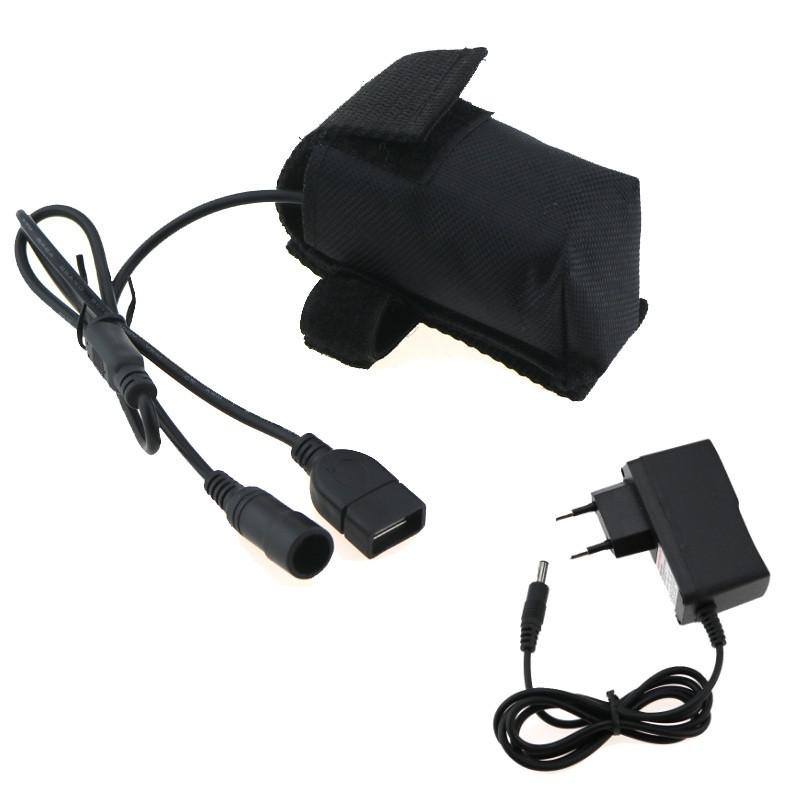 8.4V 18650 Bike Bicycle Light Battery 2 IN 1 DC+USB Connector Rechargeable 4x18650 6400mAh Battery Pack+ Battery Charger Plug