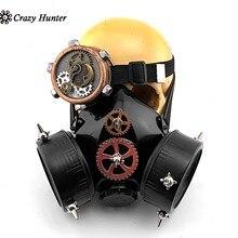 Mannen Versnellingen Steampunk Gas Masker met Single Eye Bril Cosplay Custume
