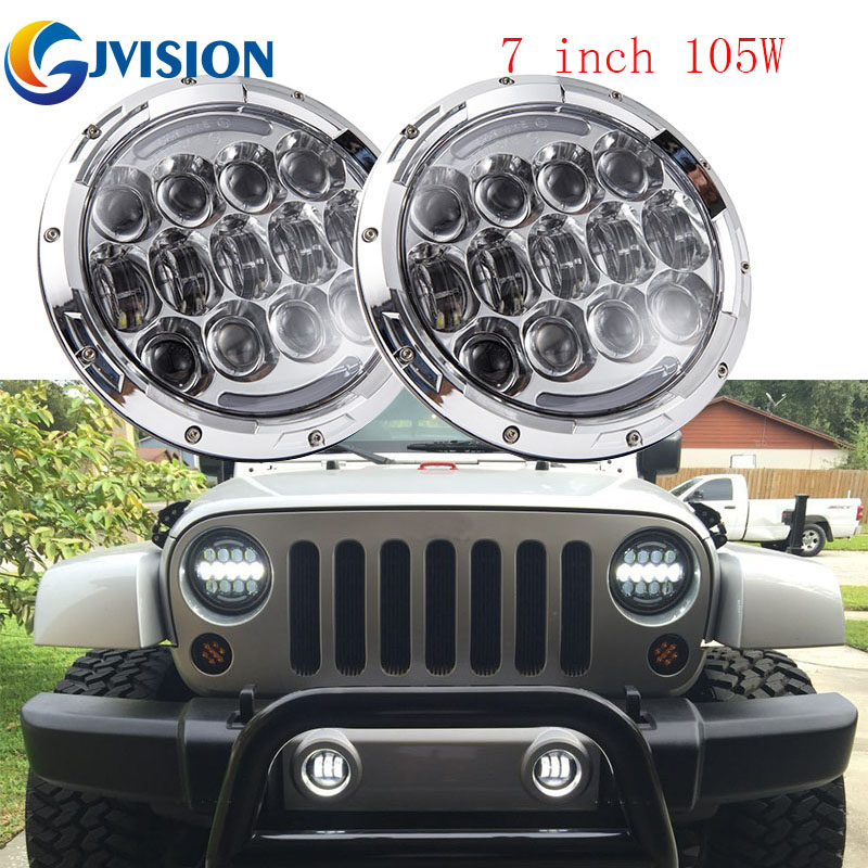 Car Light Assembly 2019 New Style 105w7 Inch Black/chrome Car Led Light 4x4 Offroad Hi/lo Dual Beam Headlight Drl Turn Signal For Jeep Wrangler Jk Cj Hummer H1 H2