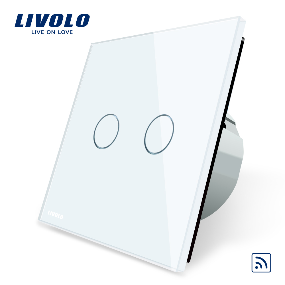 Livolo EU Standard, Remote Switch, Crystal Glass Panel, EU standard,Wall Light Remote Touch Switch+LED Indicator,C702R-1/2/5 wall light free shipping remote control touch switch us standard remote switch gold crystal glass panel led 50hz 60hz