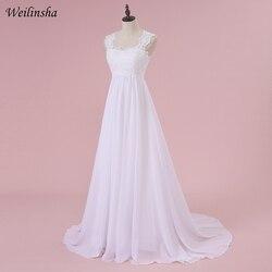 Weilinsha Cheap Stock Beach Wedding Dress Chiffon Lace Long Wedding Gowns Pregnant Bridal Dresses Plus Size Robe De Mariage 3