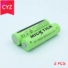 2PCS 3.7V 18650 2800mAh MICKTICK Battery lithium Li Ion Rechargeable Large Capacity Batteries batteria T6 Flashlight  LED