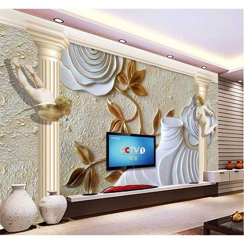 2016 HD Европейский стены Бумага пользовательские мураи нетканые стены Бумага 3D рельефа углы сад Домашний декор для Задний план изображения б...