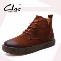 CLAX Women Autumn Boot Suede Leather Shoes Female Ankle Boots Fashion Retro Vintage Style Casual Footwear
