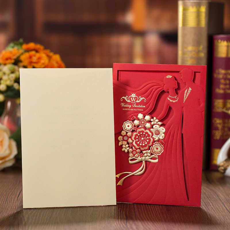 1 sztuk czerwony złoty laser cięcia zaproszenia ślubne panna młoda i pan młody elegancki kartka z życzeniami z koperty dekoracje weselne
