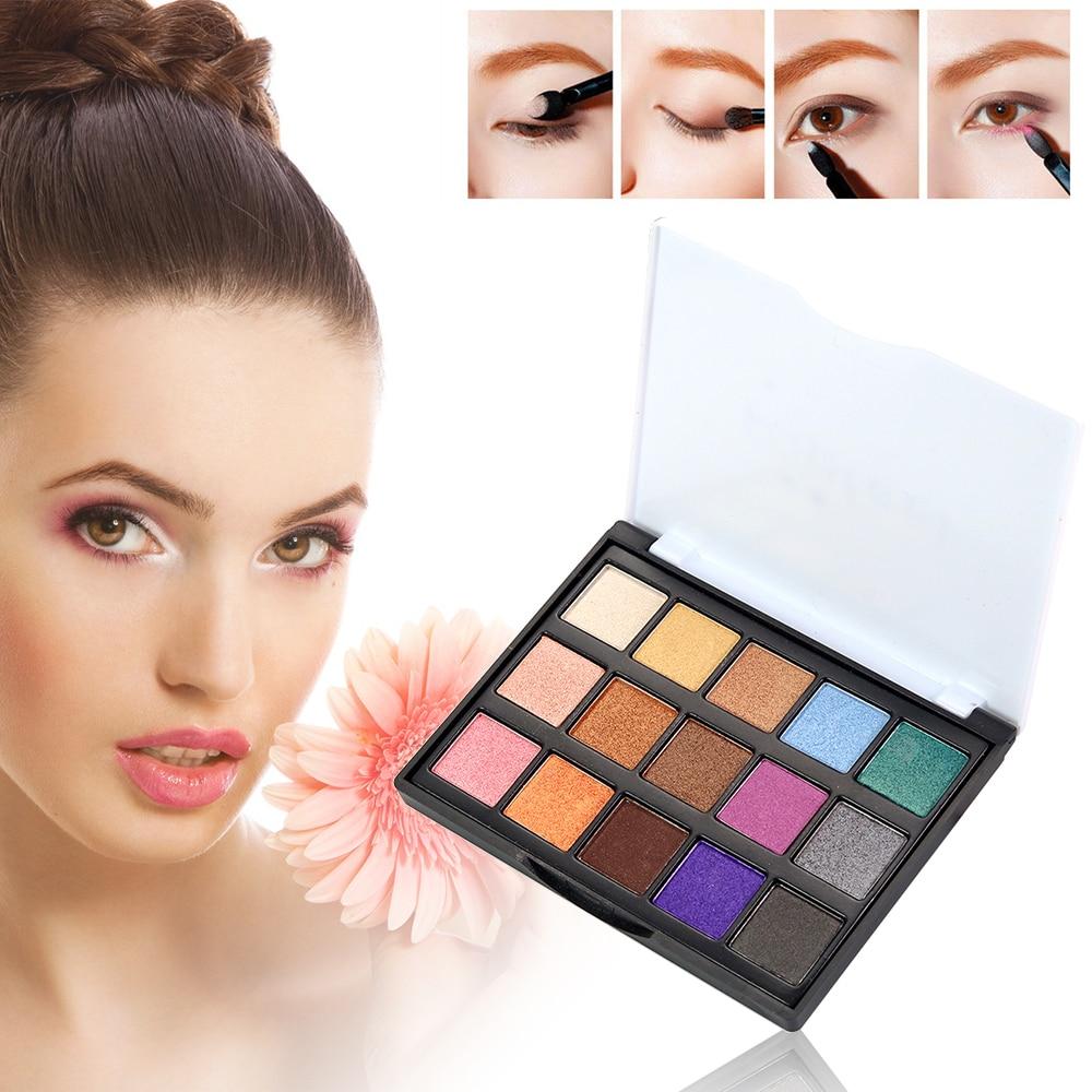 Popfeel 15 Colors Shining Eyeshadow Palette Matte Natural Eye Makeup Eye Shadow Waterproof Eye Primer Women Gift TSLM2