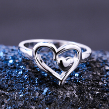 Huitan Double Heart Silver Plated Romantic Finger Ring Simple Stylish Proposal Band For Women Wholesale Lots&Bulk Hot Sale
