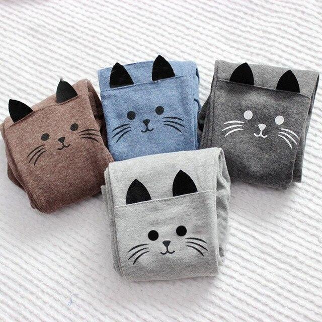 Новые детские узкие штаны для девочек дошкольного возраста милые стрейчевые теплые леггинсы с изображением кота