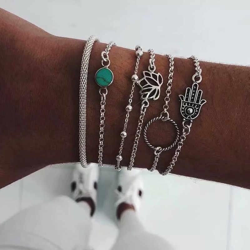 Bohema ze stopu wielowarstwowe złoto srebrne koraliki zestaw cekinów bransoletka dla kobiet biżuteria łańcuszek na kostkę obrączki akcesoria prezent