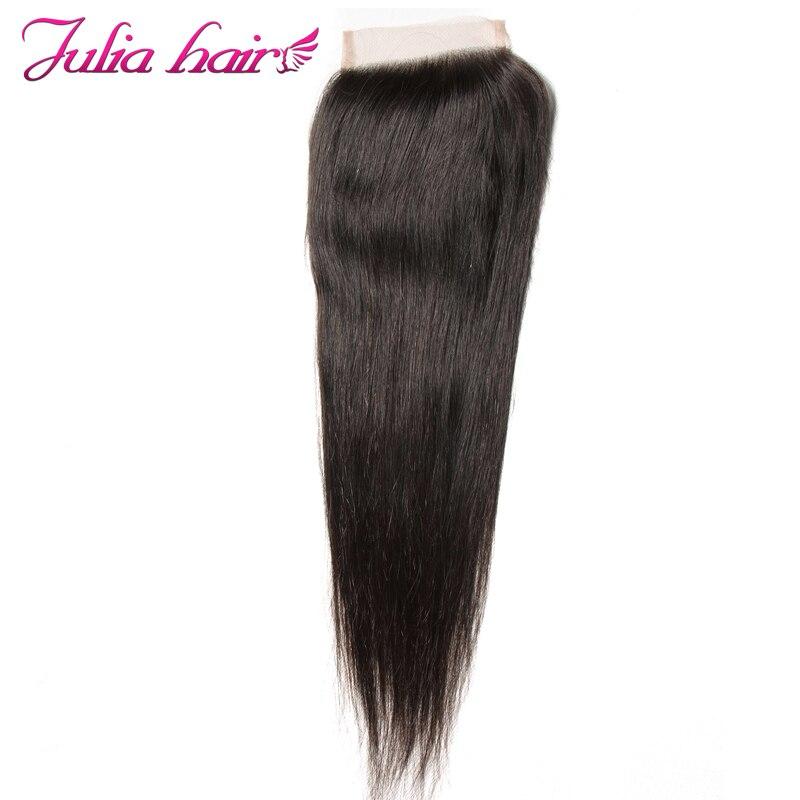 Ali Julia Human Hair Peruvian Straight Hair Lace Closure Free Middle Three Part Natural Color 10