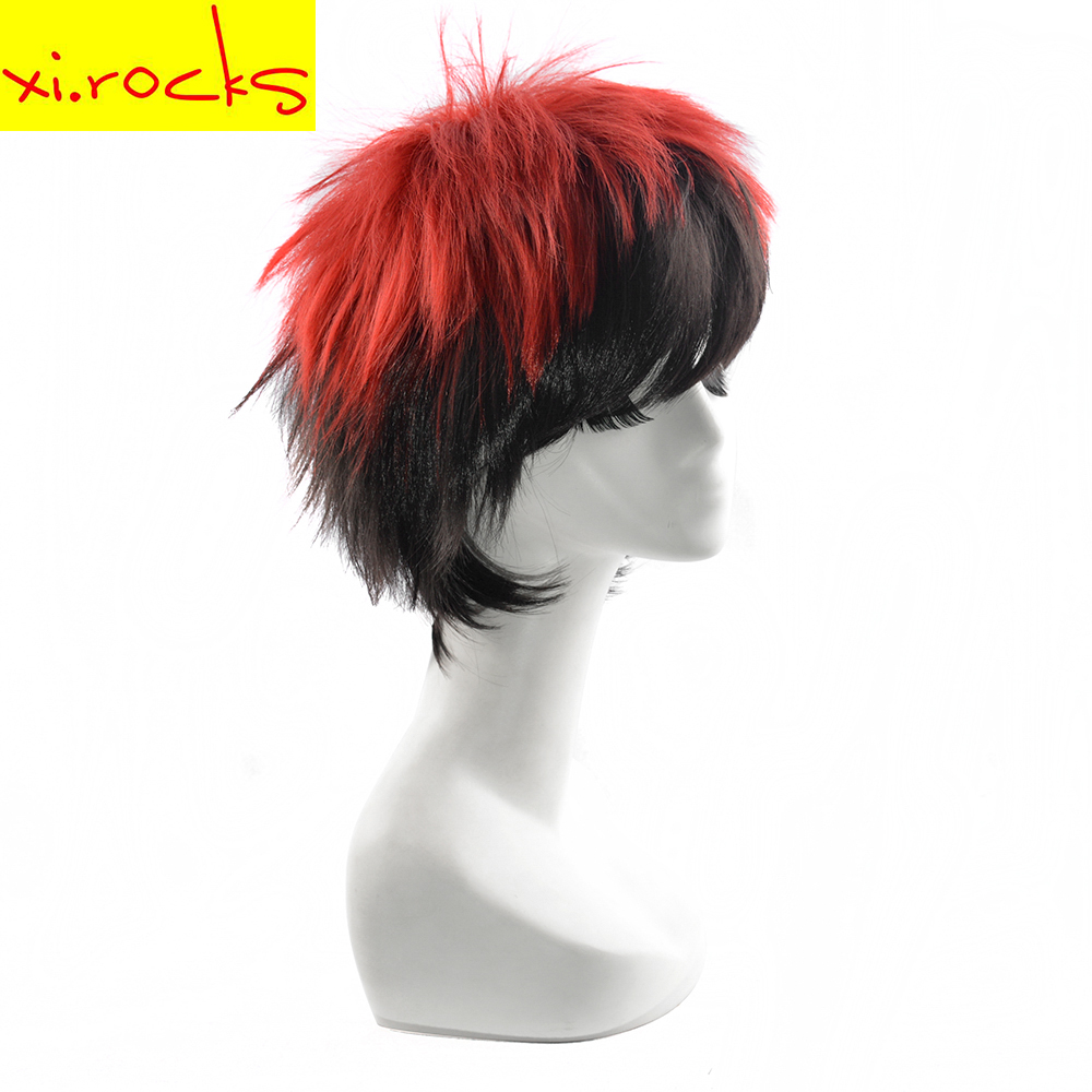 Xi.rocks 25cm Short Straight Wigs Cosplay Kagami Taiga High Temperature Fiber Hair Red Black Mix Party wig