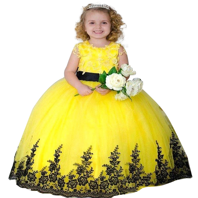 8b8fe0b7402 2017 Yellow Ball Gown Flower Girl Dresseswith Lace Appliqued Kids Evening  Gowns Girls Pageant Dresses First