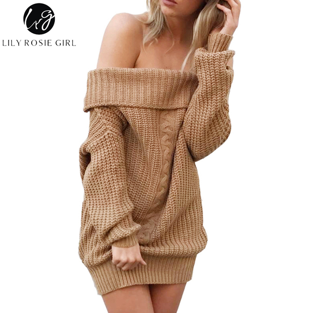 e2aa3230e50a Lily Rosie Girl Khaki Sexy Off Shoulder Sweater Dress Women Slash Neck Long  Sleeve Gray Pullovers Autumn Winter Casual Jumpers