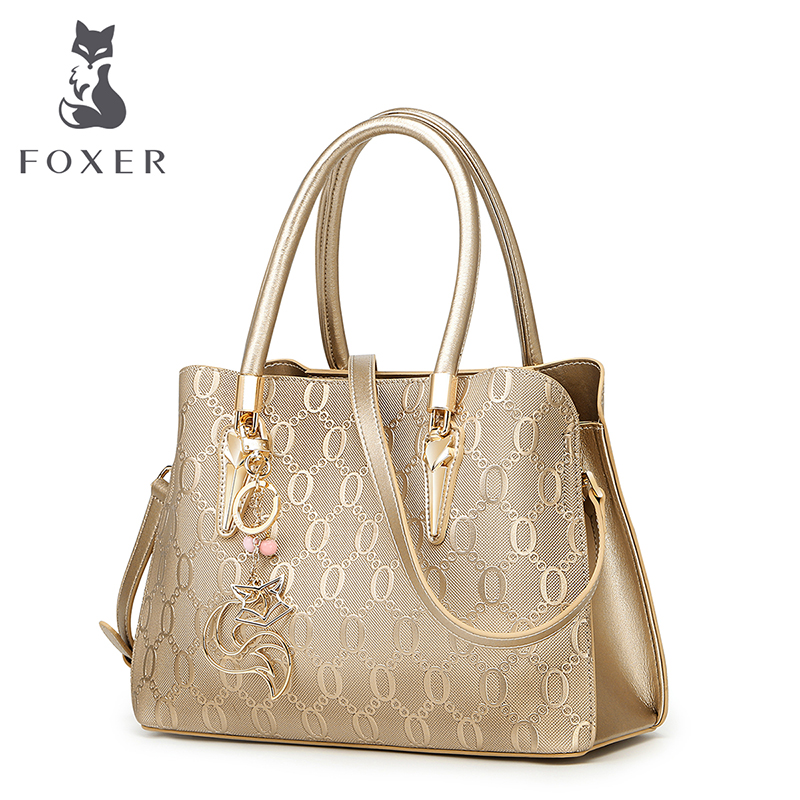 FOXER Brand Women Shoulder Bag Big Capacity Female Handbag Fashion Purse Ladies Split Leather Crossbody Bag women genuine leather tote bag set top handle big capacity female tassel handbag fashion shoulder bag purse ladies crossbody bag