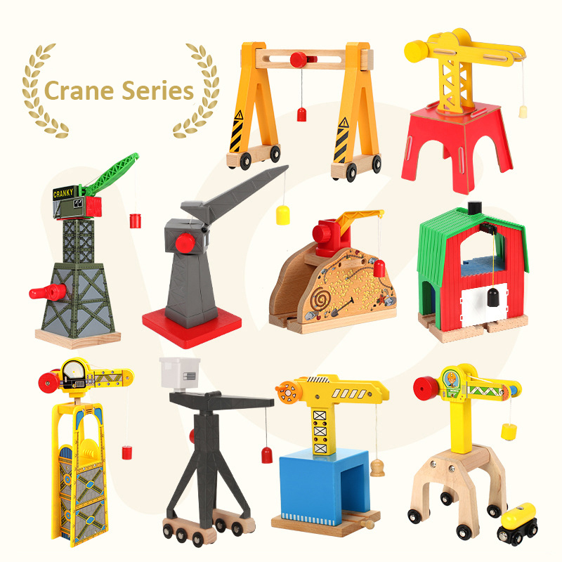 2019 Wooden Cranes Toys Wooden Train Track Railway Accessories Cranky Move House Educational Slot DIY Wood Tracks
