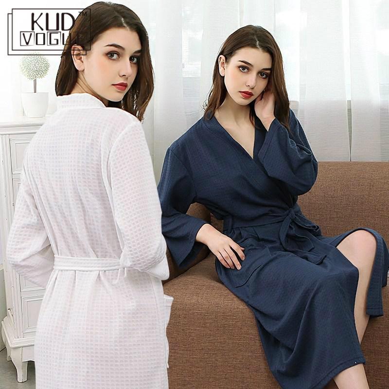 Amoureux été mode gaufre peignoir femmes sucer eau Kimono Robe de bain grande taille Sexy Robe de chambre peignoir demoiselle d'honneur 7479 - 2