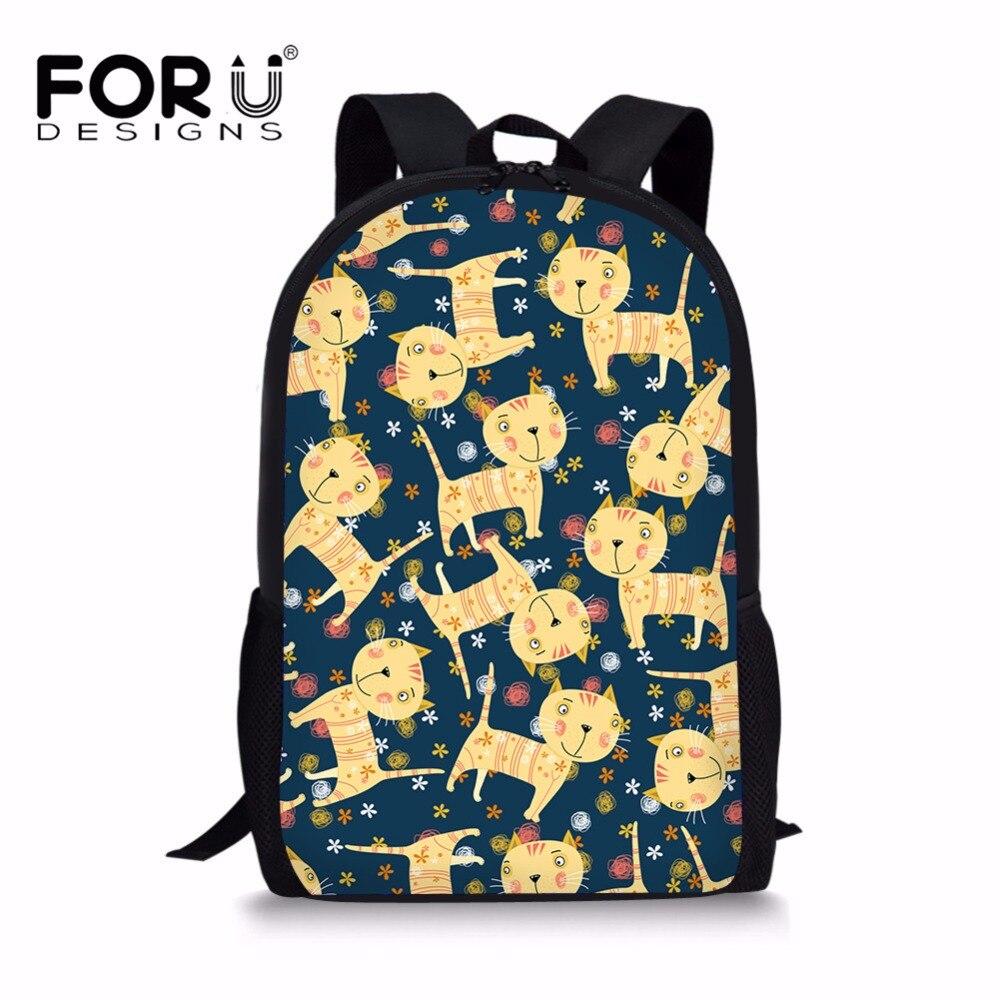 FORUDESIGNS Novelty Cats Schoolbag Primary School Girls Special Pattern Design Cute Creative Children Mochila Infantil Custom