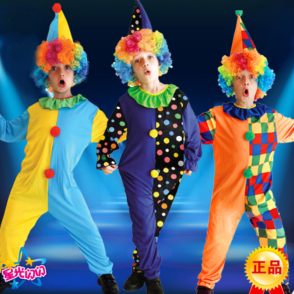 halloween costumes funny kids children circus clown costume naughty harlequin uniform fancy cosplay clothing for boys