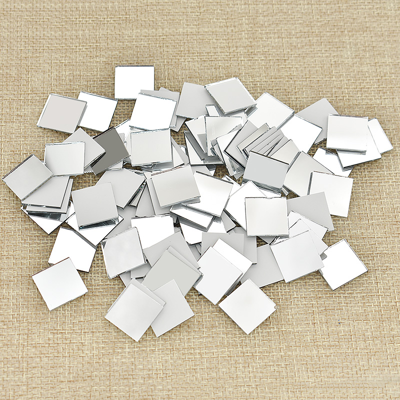 100PCS Glass Mirror Mosaic Small Square Tiles Bulk DIY Craft Supplies Decoration Artwork Handmade Materials