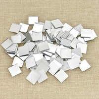 100PCS Glass Mirror Mosaic Small Square Tiles Bulk DIY Craft Supplies Decoration Artwork Handmade Materials