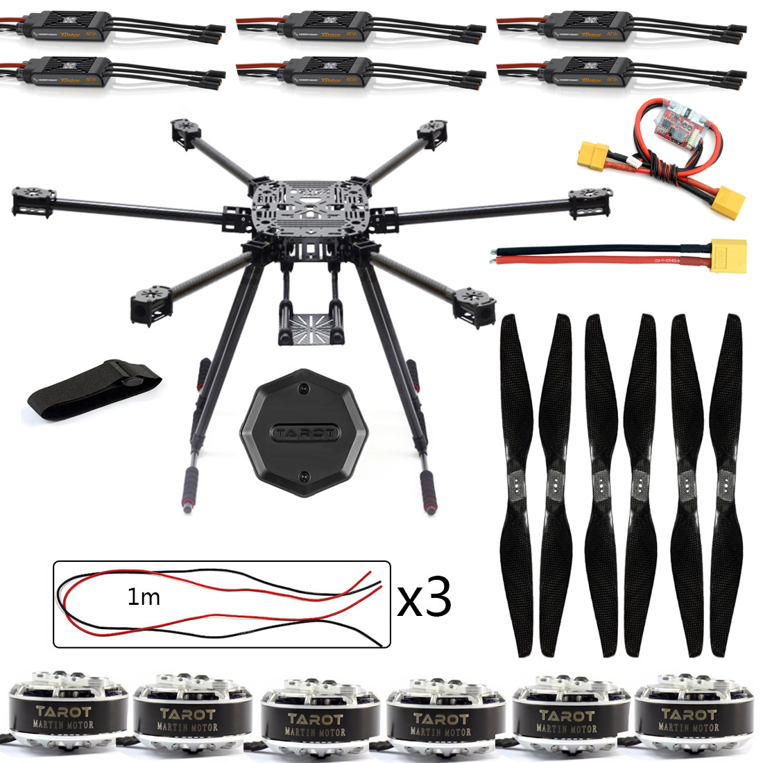 DIY ZD850 Frame Kit with Landing Gear 620KV Motor 40A Brushless ESC Propellers XT60 Plug +Hub for RC 6-axle Hexacopter F19833-A zd850 full carbon fiber frame kit with unflodable landing gear foldable arm 6 axle hub set for diy fpv aircraft hexacopter