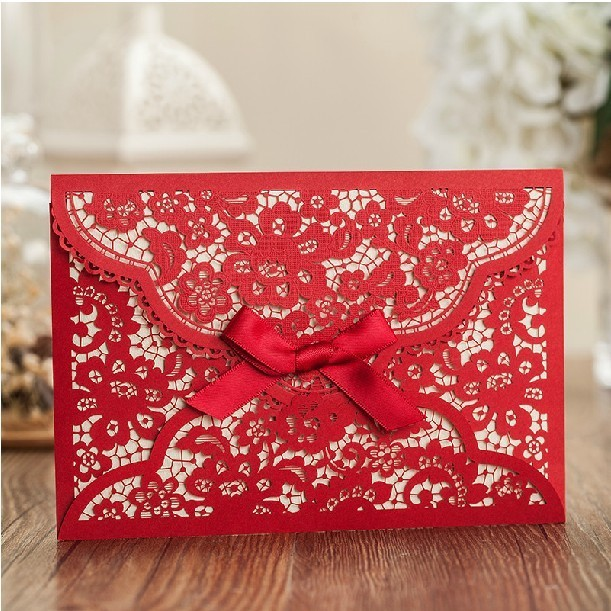 US $60 0 |Lace Wedding Invitations Cards free Envelope+Customized Printing  Red Elegant Blank Laser Cut Birthday Invitations 2015-in Cards &