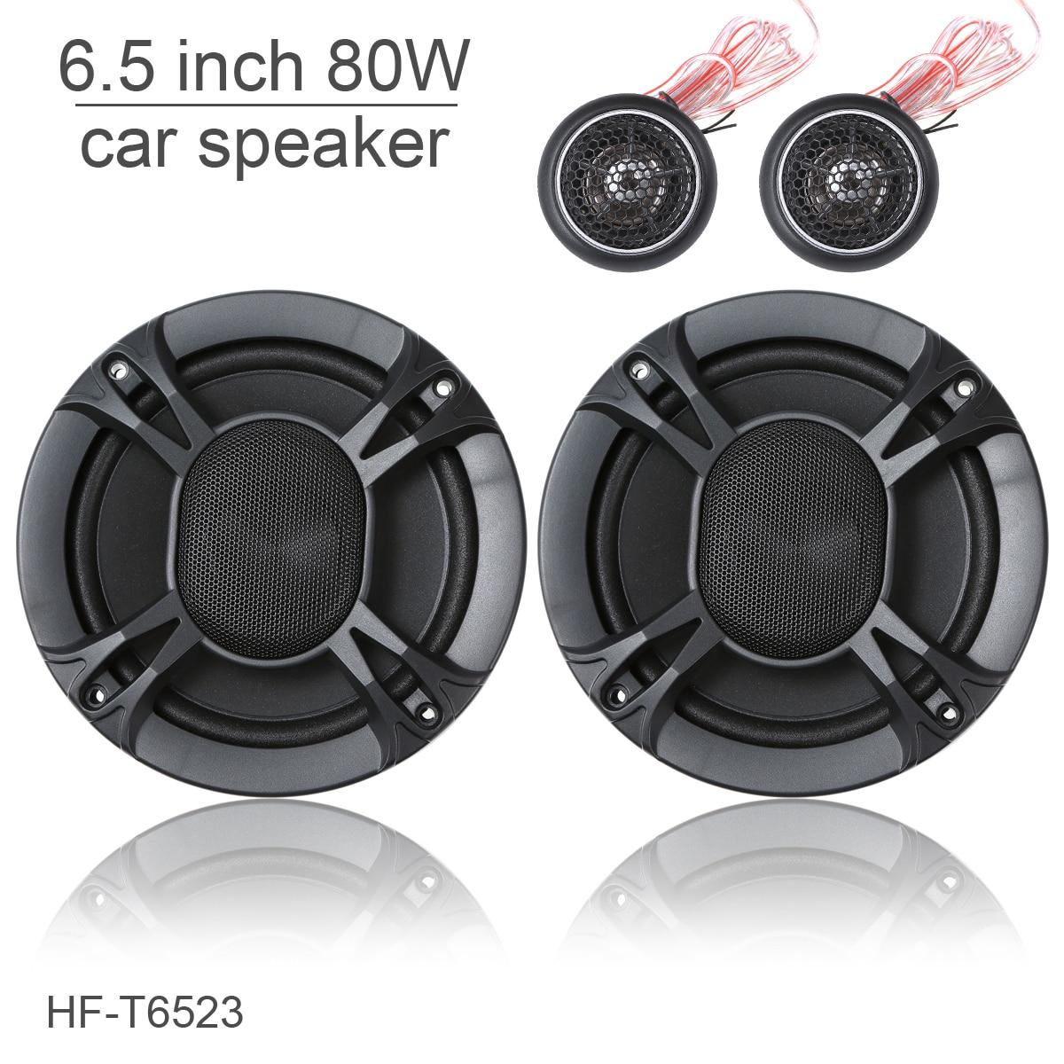 HF-T6523 un ensemble 6.5 pouces 80 W Coaxial gamme complète haut-parleur stéréo de voiture avec Tweeter et diviseur de fréquence pour les voitures