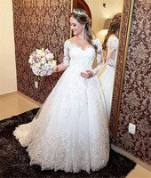 Vestido De Noiva Longs Sleeve Tulle Wedding Dress Bride Dresses Princess Bridal Gowns Lace applique robe mariage