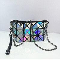 2017 Famous Brand Diamond Women Bag High Quality Geometric Leather Handbags Plaid Shoulder Laser Ladies Bags