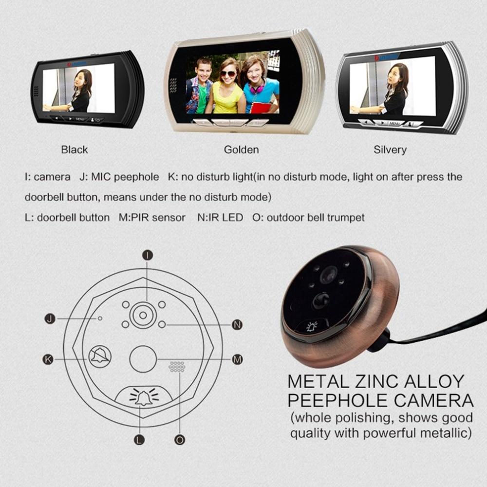 YB 43AHD M 4 3 quot HD Color Screen Smart Doorbell Viewer Digital Door Peephole Viewer Camera Door Eye Video record IR Night vision in Doorbell from Security amp Protection