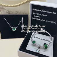 6pcs Fashion Jewelry Set S925 Silver Forest Green Series CZ Dangle Charms and Bracelet Necklaces Set Jewelry Making Woman Gift