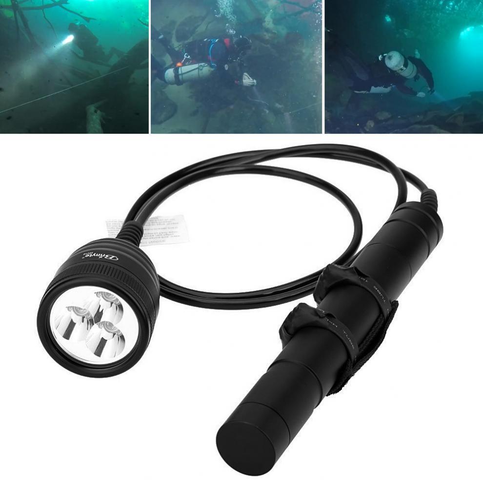 Brinyte DIV10 Sous-Marine LED Plongée lampe de Poche Haute Puissance 150 m 3000lm 3x XM-L2 LED avec 2 m Fil Longueur pour professionnel Plongée
