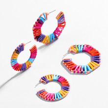 Boho Handmade Multicolor Raffia Winding Earrings for Women Girls Ethnic Wedding Jewelry Round Geometry Statement Dangle Earring(China)