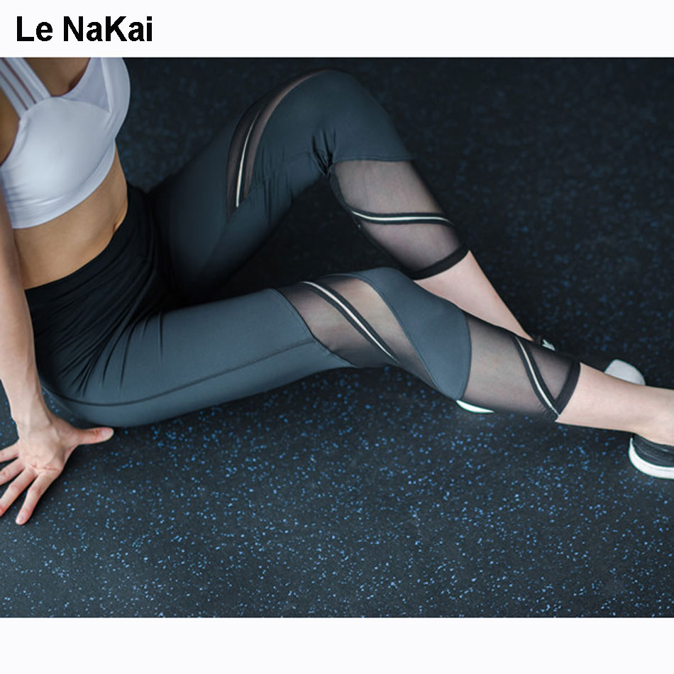 Mesh Panel Stripe Yoga Capris For Women Solid Yoga Pants Fitness Thick Gym Tights High Waist Workout Sporty Running Trousers