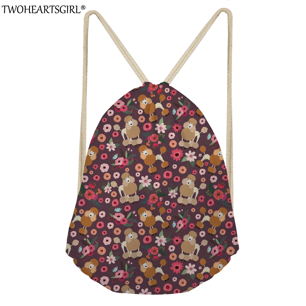 TWOHEARTSGIRL Poodle Flower Printing Portable Women Drawstring Bags Female Storage Function String Backpack Travel Clothes Bags