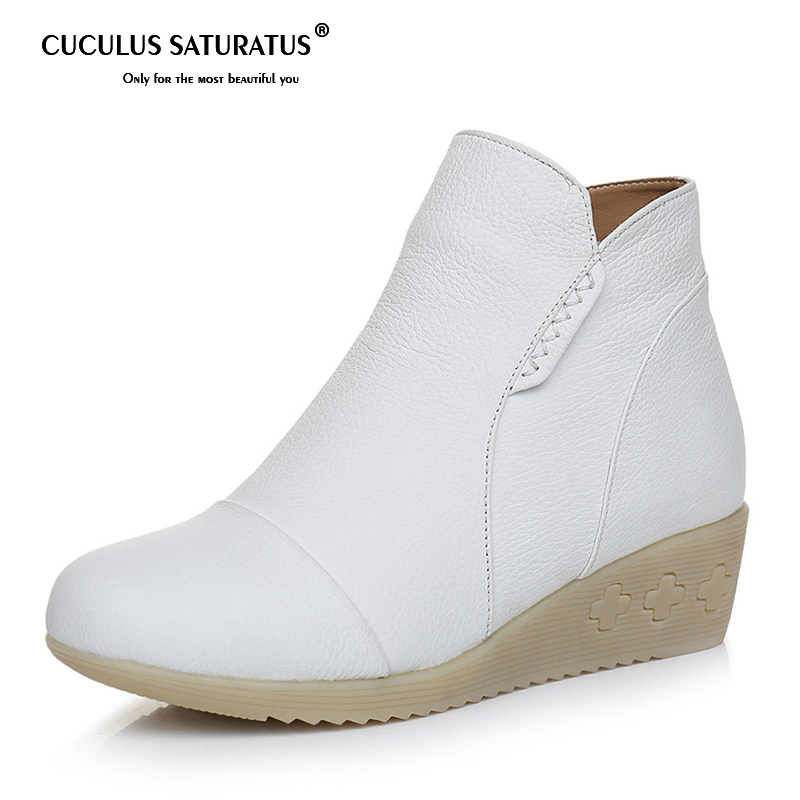 Cuculus 2018 Winter Shoes Plush Ankle Boots Women Flat Casual Short Boots Rubber Round Toe Genuine Leather Boots Ladies Big Size y s 2016 new mens casual desert boots mans genuine leather flat shoes adults round toe ankle chukka adults quilted boots y 100
