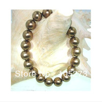 Stunning Shell Pearl Jewelry 10mm Tahitian Chocolate South Sea Shell Pearl Bracelet Round Shaper 8'' Wholesale New Free Shipping