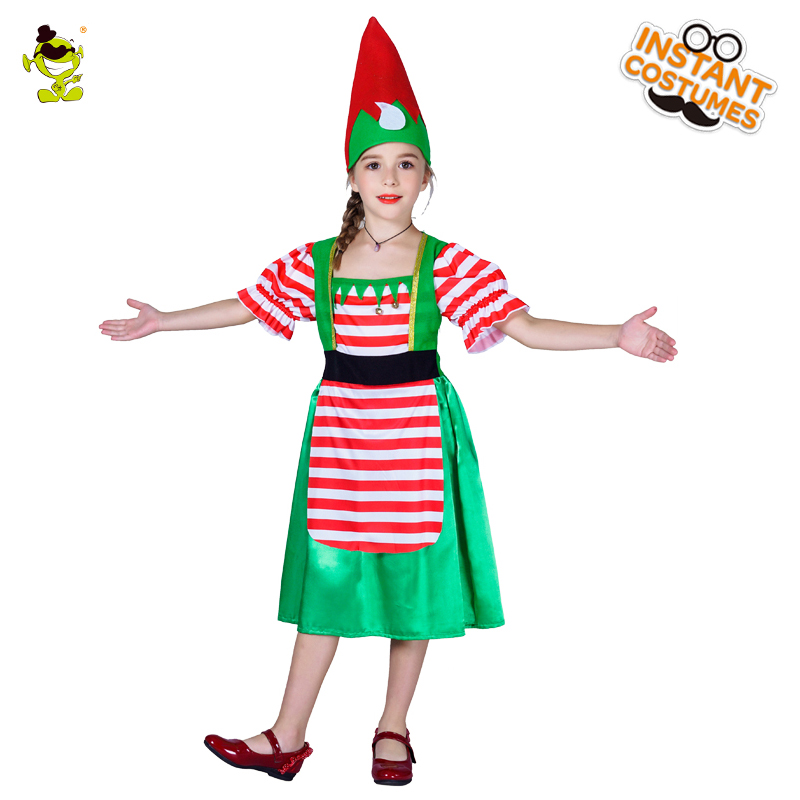 New Christmas Girl Dress Carnival Party Costume fairy Role Play Suits Loveable With Hat Santa Claus for Halloween Party Clothing