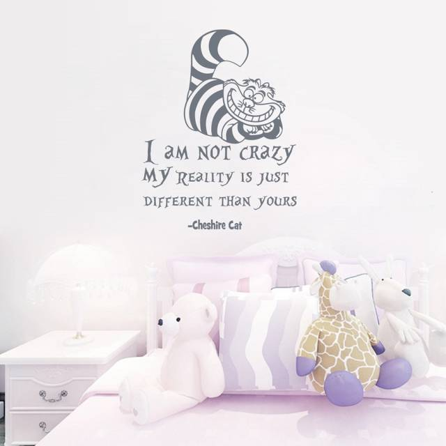 Online Shop Alice In Wonderland Wall Sticker Cheshire Cat Quotes I