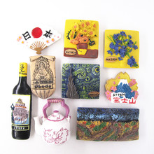 Van Gogh Hand Painted 3D Resin Fridge Magnet Sticker Netherlands Japan Countries City Cute Tourism Souvenir Home Decor Craft Gif