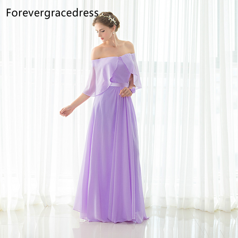 Forevergracedress Lavender A Line Long   Bridesmaid     Dress   New Off The Shoulder Chiffon Formal Party Gown Plus Size Custom Made